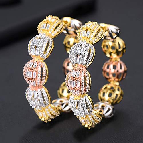 Luxury Disco Ball Cubic Zircon Big Hoop Earrings | for Women | Wedding's Dubai Bridal Square Circle Hoop Earrings]()