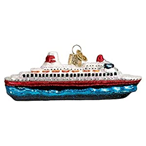 Best Epic Trends 51048DnxZeL._SS300_ Old World Christmas Cruise Ship Glass Blown Ornaments for Christmas Tree