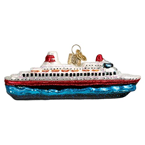Blown Glass Ships - Old World Christmas Glass Blown Ornament with S-Hook and Gift Box, Auto Collection (Cruise Ship)