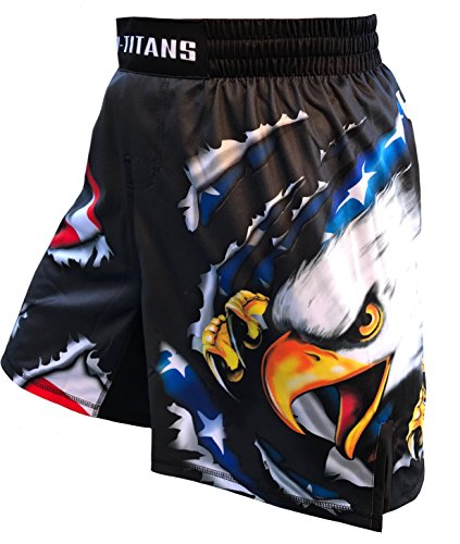 (USA Ultimate Eagle Fight Shorts Youths & Mens- Black (Adult XXL: Waist 38