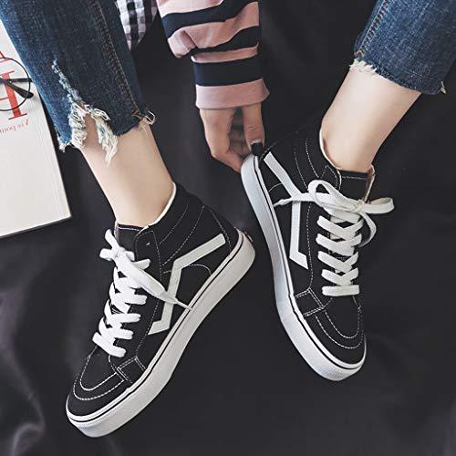 Calde 40 Fashion Per Dimensioni Nere Nero Tela colore Nero Donne Scarpe Alte In Casual Tenere Stringate 60vvHt