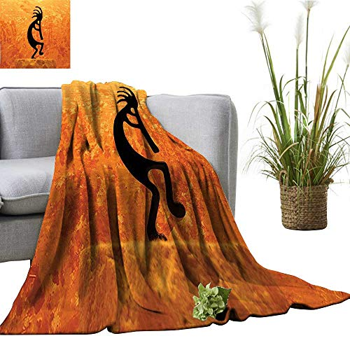 YOYI Single-Sided Blanket Kokopelli Southwestern Style Native American Ancient Belief Picture Art Orange for Bed & Couch Sofa Easy Care 30