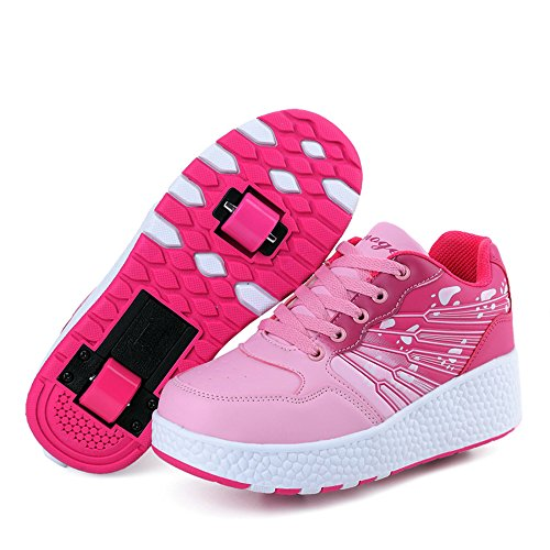 HUSK'SWARE LED Luz Unisex-niños Zapatos con Ruedas Zapatillas de Skate Automática de párrafos Sola Ronda Para niñas