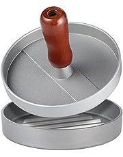 Non-Stick Burger Press, FineGood Patty Maker Aluminum Patty Mold for BBQs Picnic Party Housemade Hamburger Bacon Sausage - Silver