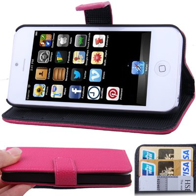 CaseMore Pink Premium Quality Wallet Stand Case for iPhone 5 Horizontal with Credit Card Slots and Holder Leather Case (Sprint, ATandT Verizon and International Carriers), Outdoor Stuffs