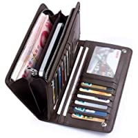 Men's Leather ID Card Holder Zip Coin Wallet Purse Clutch Checkbook Billfold