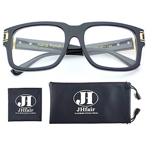 JHfair Designer Square Aviator Classic Fashion Sunglasses for Men Women Flat Top