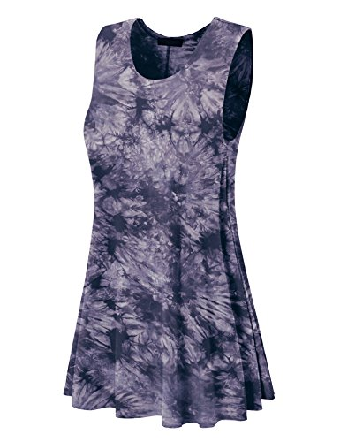 Made By Johnny WDR1077 Womens Tie Dye Round Neck Sleeveless Trapeze Dress Tunic Top L Black ()