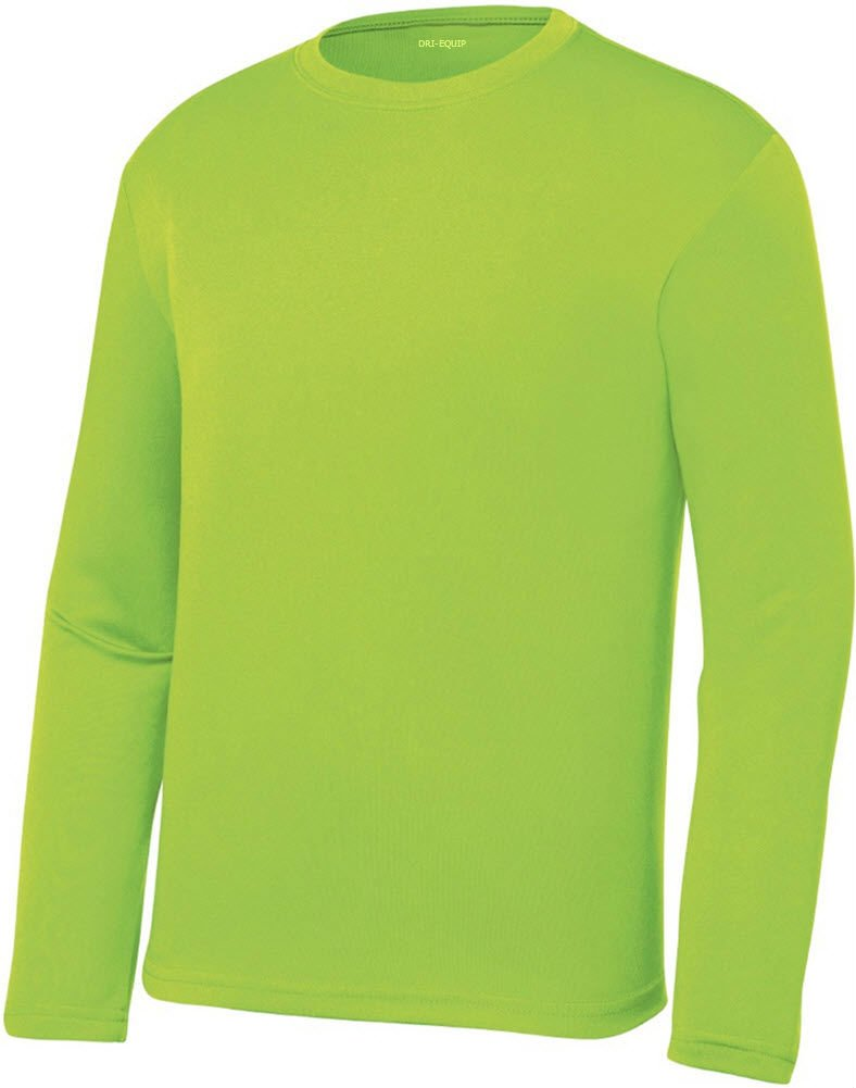 a4cb85fb220f Galleon - DRI-EQUIP Youth Long Sleeve Moisture Wicking Athletic Shirts. Youth  Sizes XS-XL, Lime Shock, Medium