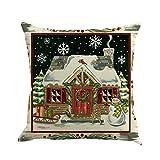 AmyDong Beautiful Printed Linen Pillowcases Snowman Christmas House Printing Pattern Christmas Linen Pillowcase (G)