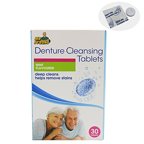 3 Minute Mint Antibacterial Denture Cleanser Effervescent Tablets, 1 Box Retainer Cleaning Tablets(Each of 30 count),Removes Stain, Plaque & Bad Odor from Dentures, Nightguard, Mouth Guard ()