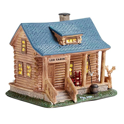 Nantucket Home Ceramic Log Cabin Miniature Lighted Home