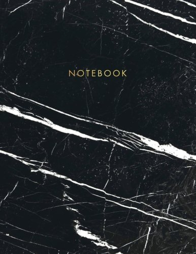 Notebook: Classic Black and White Marble with Gold Lettering - Marble & Gold Journal | 150 College-ruled Pages | 8.5 x 11 - A4 Size
