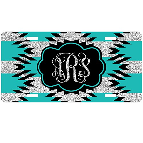 Simply Customized Personalized License Plate Monogram Aztec Hipster Teal Black Glitter License Plate Car Auto Tag Aluminum PLP