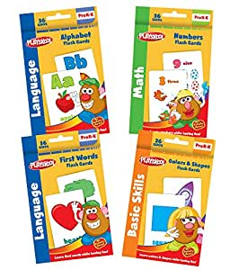 Playskool Flash Cards with Reward Stickers - 4 Sets of Flash Cards (Alphabet, Numbers, Colors and Shapes, First Words) - Packaging May Vary