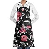 KATONGHUJHJH Rose Pattern Bib Apron Professional Chef Aprons 28X20 Snapapron With Double Pockets