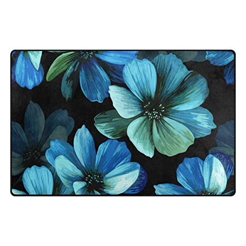 MIGAGA Non Slip Area Rugs didian Mystical Seamless Pattern Beautiful Blue Flowers Floor Mat Living Room Bedroom Dinning Kitchen Carpets Doormats