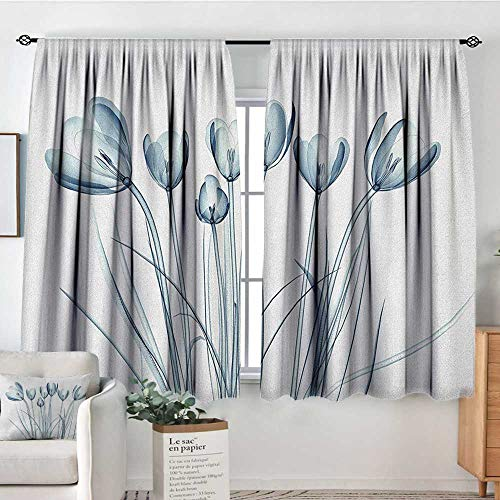 - Theresa Dewey Rod Pocket Curtains Flower,X-ray Transparent Image of Tulips Solarized Effects Nature Inspired Vision, White and Dark Teal,for Room Darkening Panels for Living Room, Bedroom 55