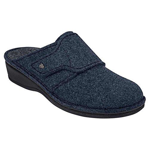 Finn Comfort Andermatt Para Mujer De Mulas Y Estorbos Azul Oscuro De Fieltro De Lana