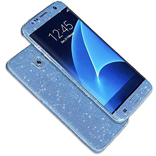 Tonsee Luxus Bling Glitter zurück Film Tasche Schutzhülle Case für Samsung Galaxy S7 edge (blau)