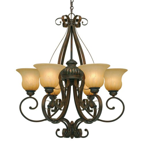Golden Lighting 71166LC Chandelier with Creme Brulee Glass Shades, 28.5