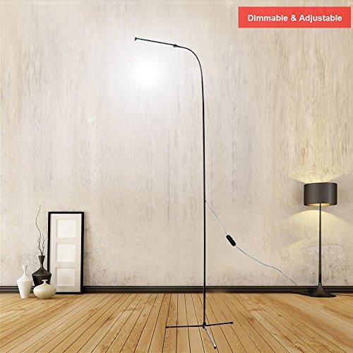 LexonElec Floor Standing Lamp, USB 8W 800 Lumens Brightness 3500K Warm Light & 6000K Cool White Light LED Reading Light for Living Room Bedroom with 1.5m Length USB Line (Black, (Series Gooseneck Lamp)