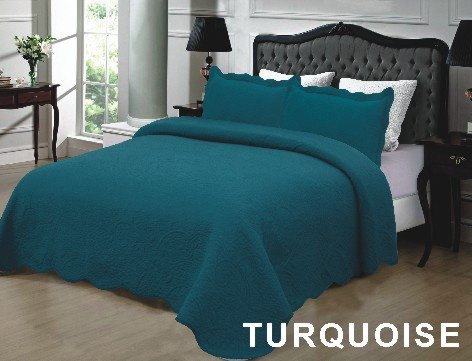 Homemusthaves 3PCS Quilt Set Solid Color Design Quilt Bedspread Bed Coverlet (King (102x94 Inches), Turquoise) (Turquoise King Quilt compare prices)
