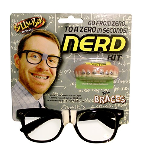 Nerd Kit with Glasses and No-Fool Braces by - Nerd With Tape Glasses