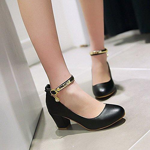 Latasa Donna Moda Cinturino Alla Caviglia Con Tacco Grosso Vestito Casual Pompe Scarpe Nere
