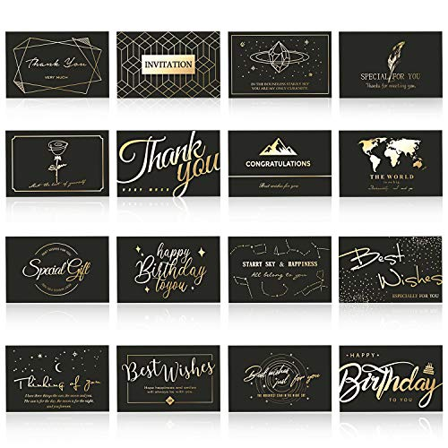 All Occasion Greeting Cards Bulk - iLovepaper Black & Gold 16 Design Greeting Card Assortment Include Thank You Cards, Birthday Cards, Invitation Cards with Envelopes and Stickers, 3 X 5 in