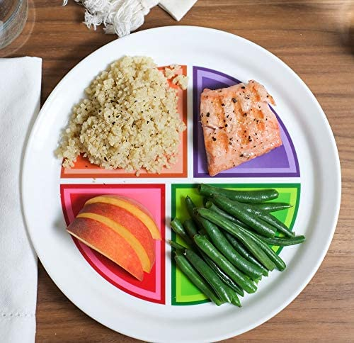 """Health Beet Portion Control Plate - Choose MyPlate for Teens and Adults, Nutrition Plate and Dairy Bowl with Food group Sections, 10"""" - English Language (1 Plate, 1 Bowl) 3"""