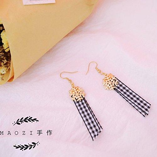 Custom snow elegant plaid ribbon 925 silver earrings ear clip earrings elegant -