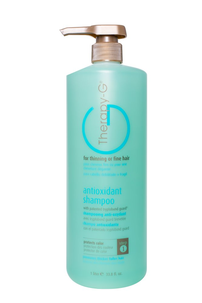 Therapy-G Antioxidant Shampoo (Liter 33.8oz) for fine, thinning hair and anti hair loss. Protects hair color and prevents damage and helps inhibit DHT and stimulate renewed growth shampoo. by Therapy-G