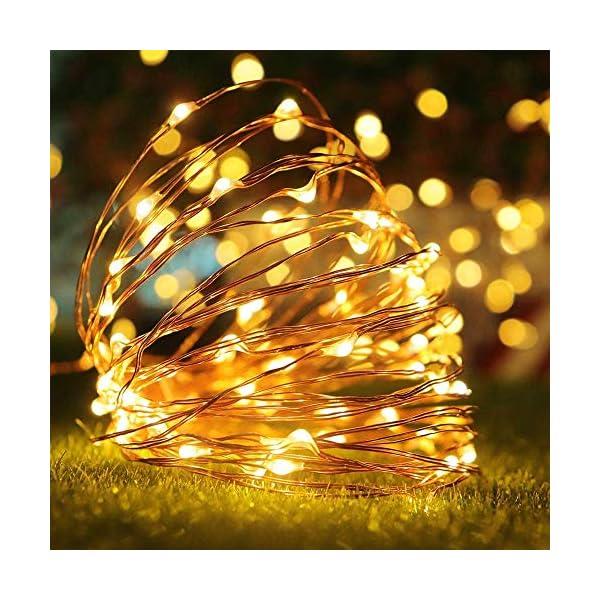 ACDE 2 Pezzi 10M/100 LED Catena Luminosa Stringa Luci Impermeabile con EU Spina Adattatore per Natalizie Festa Nozze Decorazioni - Bianco Caldo 3 spesavip