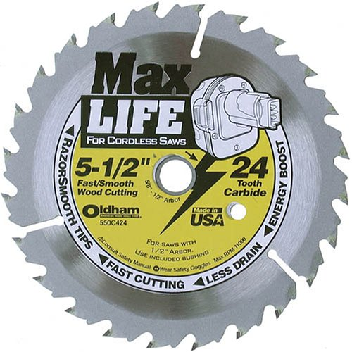Oldham 550C424 Max Life 5-1/2-Inch 24 Tooth ATB Cordless Saw Blade with 5/8-Inch (Oldham Circular Saw)