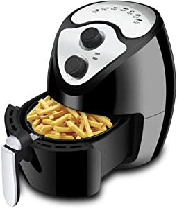 LUSHUN 2.6 LiterElectric Hot Air Fryers Oven Oilless Cooker, with Temperature Control, with Digital Screen and Nonstick Frying Pot, 7 Presets, Easy Operation