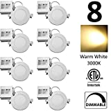 QPLUS 4 Inch Slim Panel Ultra Thin Recessed LED Light/Pot Light/Down Light, 3000K Warm White (8 Pack), 10 Watts (=75W), 750 Lumens, Dimmable, IC Rated/cETLus/Energy Star Certified, 5 Year Warranty