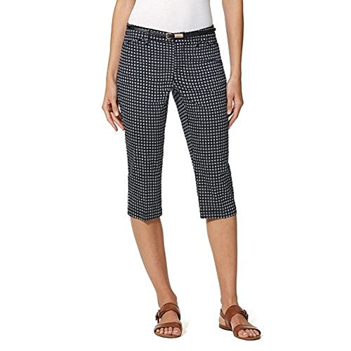 Gloria Vanderbilt Ladies' Anita Belted Capri Casual Summer Pants (Midnight Affair, 10)