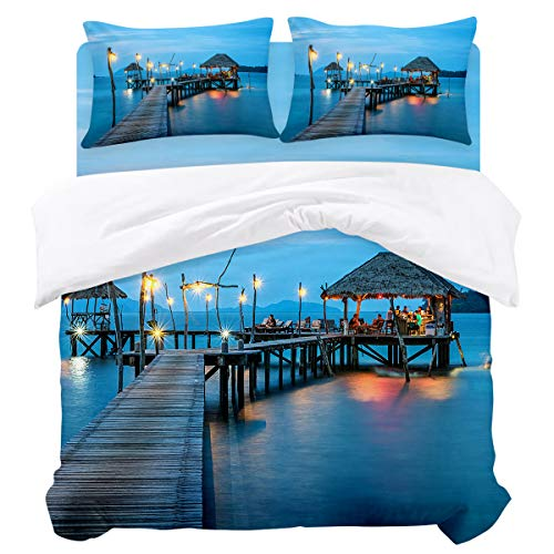 (OUR WINGS 4 Piece Duvet Cover Set,Thailand Resort Pier Queen,Soft and Comfortable,Easy Care,Bed Cover with Zipper Closure and)