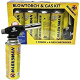 Blow Torch Butane Gas KIT FLAMETHROWER Welding AUTO Ignition Bottles Soldering (BLOWTORCH + 4 Gas Bottle)