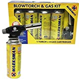 BLOW TORCH BUTANE GAS KIT FLAMETHROWER WELDING AUTO IGNITION BOTTLES SOLDERING (BLOWTORCH + 4 GAS BOTTLE)