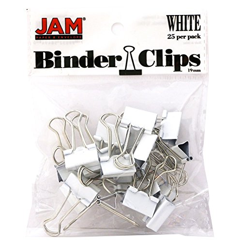 JAM Paper Binder Clips - Small - 19mm - White Binderclips - 25/pack
