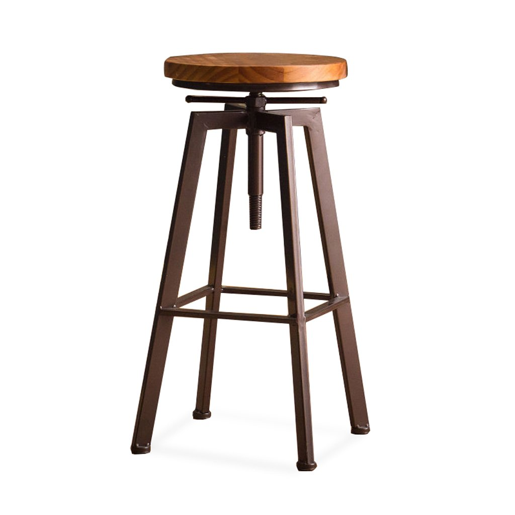 Bar Stool, Iron Solid Wood High Chair Stool, Rotary Breakfast Stool, (H62-82cm L33cm W33cm) ( Color : Bronze ) by Boyang