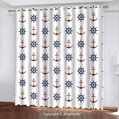 PUTIEN 3D Printed Blackout Curtains,Anchor,Maritime Decor Design Anchors and Ship Wheels on The White Background Print,Navy Blue and Ruby Pattern,W84.3xL84.3 Inches,Window Treatments for Bedroom