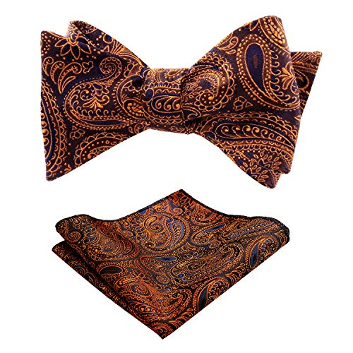 - Alizeal Mens Solid Color Paisley Pattern Self-tied Bow Tie and Pocket Square Set, Orange