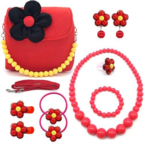 Elesa Miracle Little Girl Handbag Beauty Set Kids Plush Handbag + Flower-Shaped Clip-on Earrings Rings Hair Clips and Hair Ties + Necklace and Bracelet Set (Red)