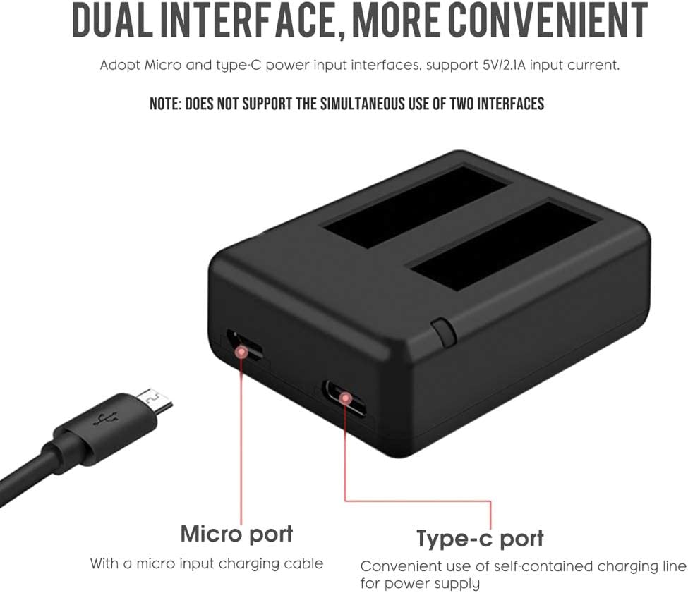 2in1 Micro-USB Type-C Interface Rechargerable Panoramic Camera Batteries with Charging Cable Meijunter Dual Charger for Insta360 One X Battery