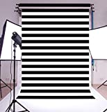 Laeacco 6.5x10FT Vinyl Photography Background Black and White Horizontal Stripes Lines Scene Backdrops Children Kids Adults Lovers Art Photo Shooting Video Studio Props