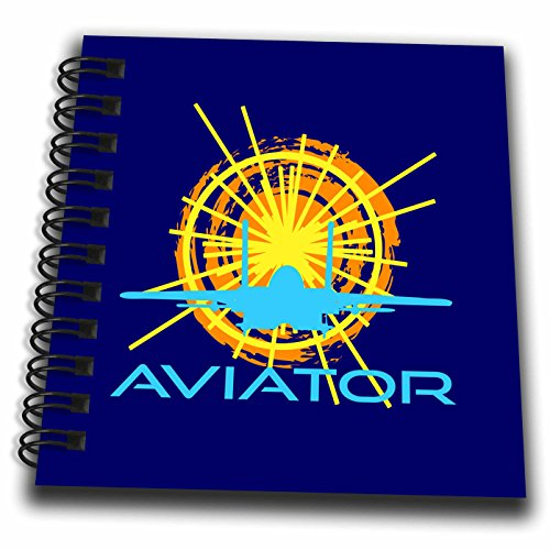 3dRose Sun, Aircraft Silhouette, Text Aviator. Dark Blue Background Drawing Book, 4 x - Aviator Silhouette