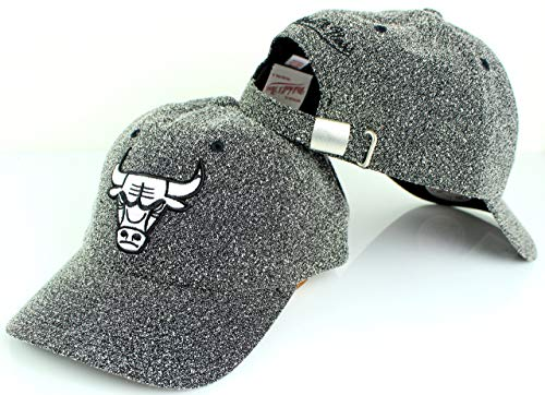 Mitchell & Ness NBA Black White Static Logo Strapback Dad Hat (Adjustable, Chicago Bulls)